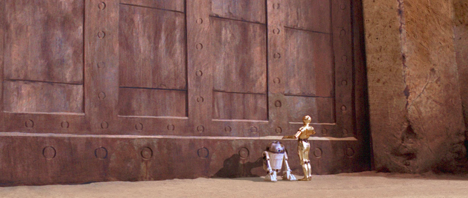 R2-D2 and C-3PO at Jabba's palace in Star Wars: Return of the Jedi