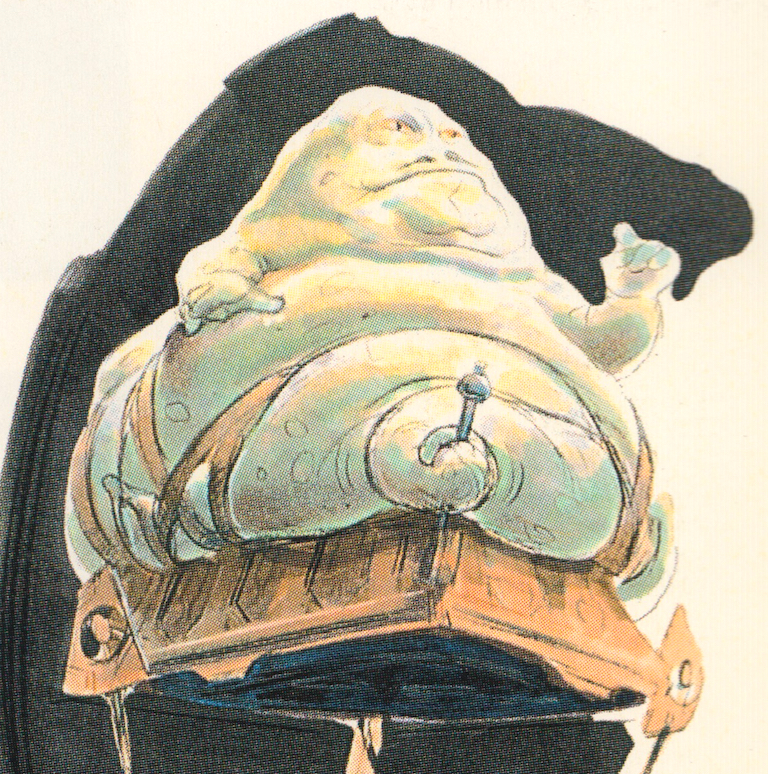 Jabba the Hutt concept art from the Star Wars Trilogy Special Edition