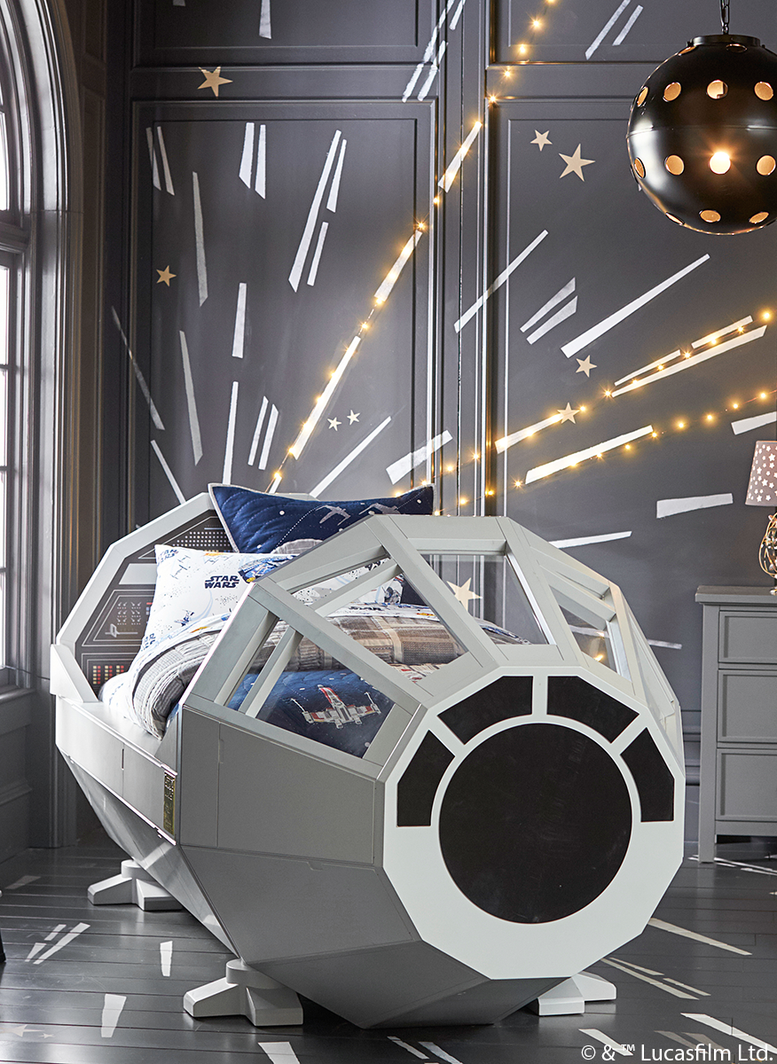 Millennium Falcon Bed Lightspeed Mural By Pottery Barn