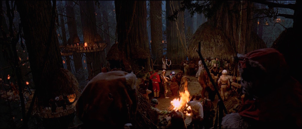 Ewoks celebrate on Endor
