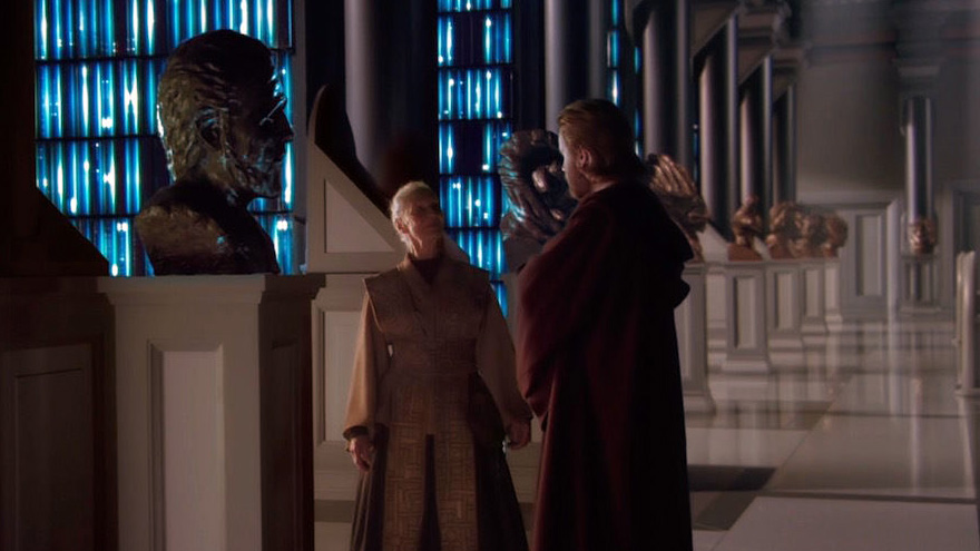 Obi-wan and Jocasta Nu at Count Dooku bust