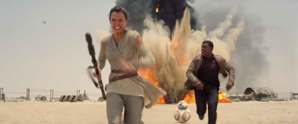 Rey, Finn, and BB-8 in Star Wars: The Force Awakens