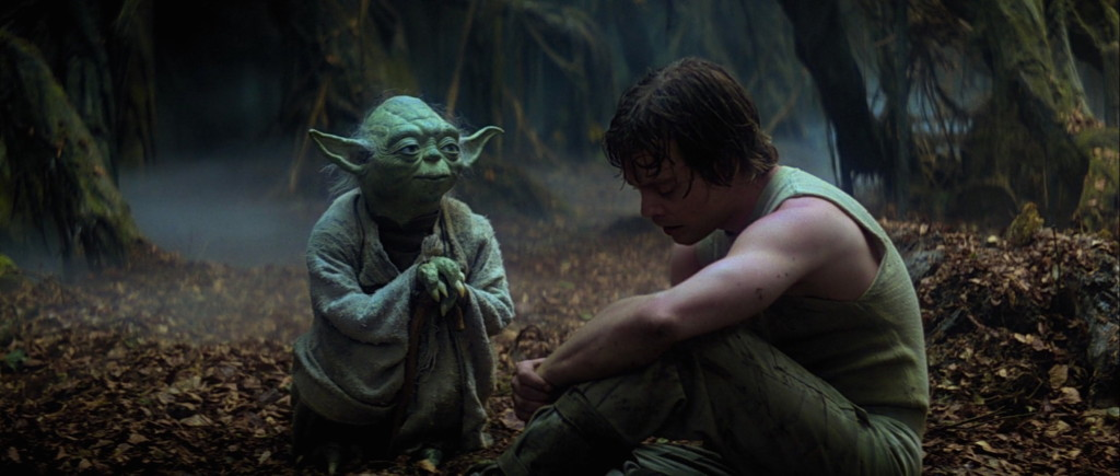 Luke and Yoda on Dagobah