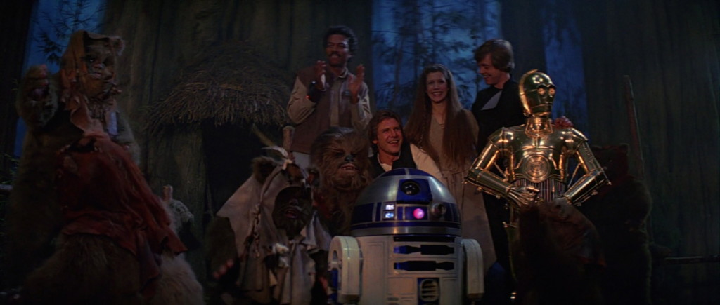 Final scene of Star Wars: Return of the Jedi.