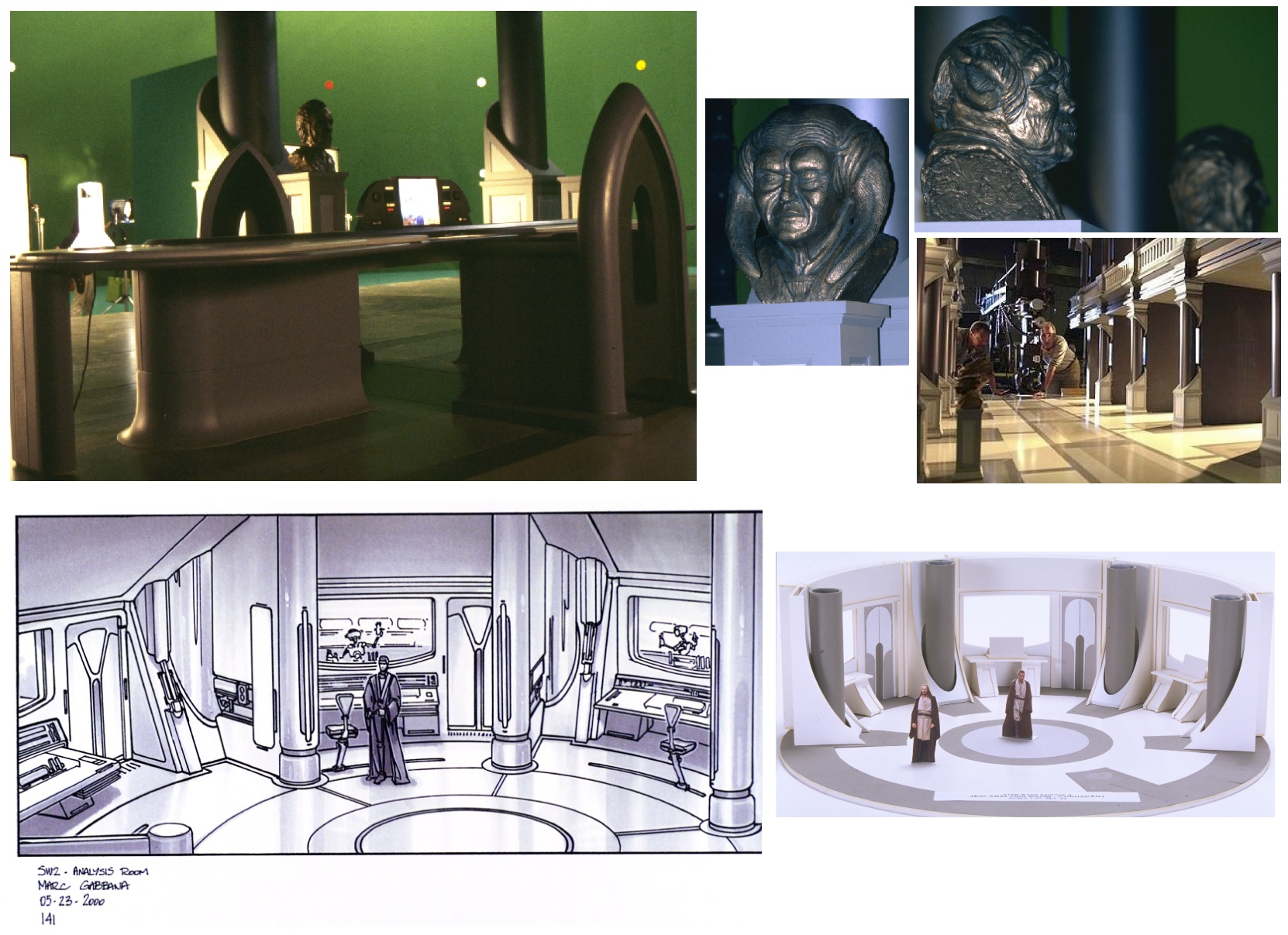 Top row: Jedi Archives. Bottom row: Analysis Room concept art & maquette