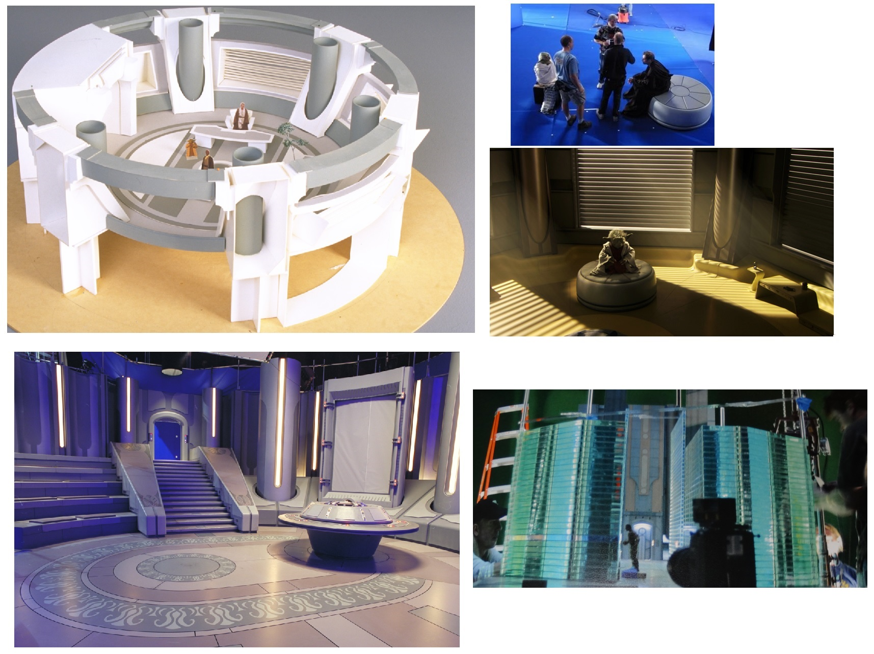 Top row: Mace's original office as a maquette & Yoda's room. Bottom row: War Room set & Circuit Room model