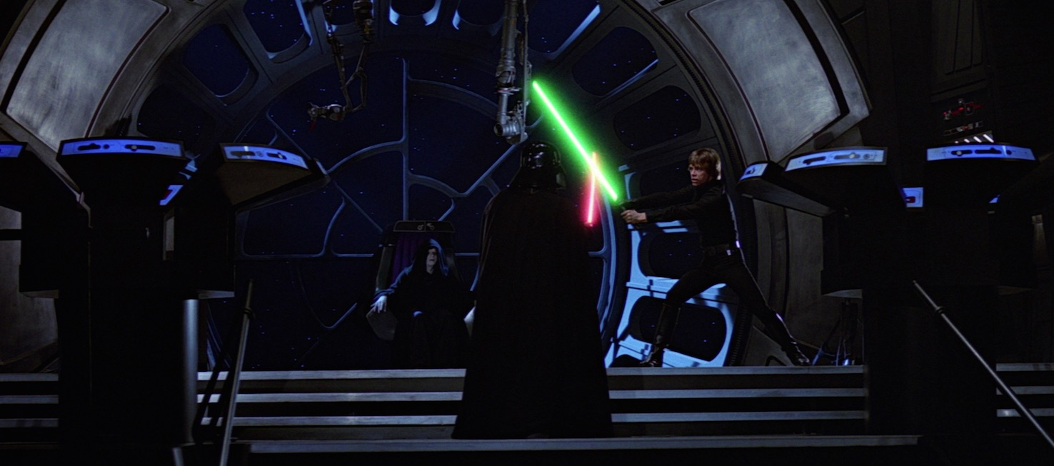 Return of the Jedi - Luke lashing out at Vader in front of Palpatine