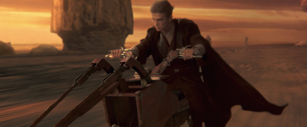 Anakin rushing on a swoop to save his mother
