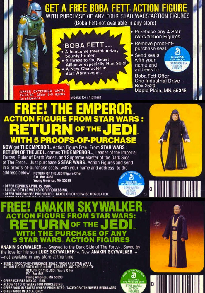 Ad containing special offers for Kenner figures