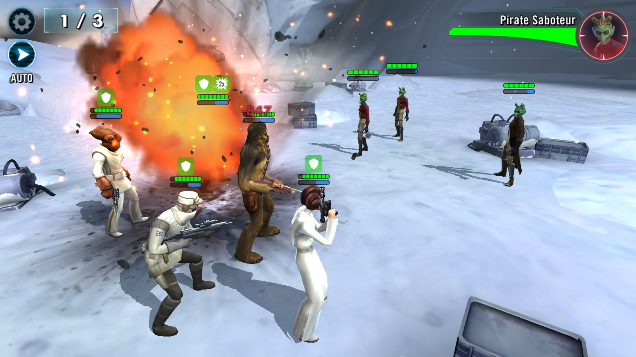 Admiral Ackbar, Chewbacca, Leia Organa, and a fourth teammate battling a group of Rodian pirates