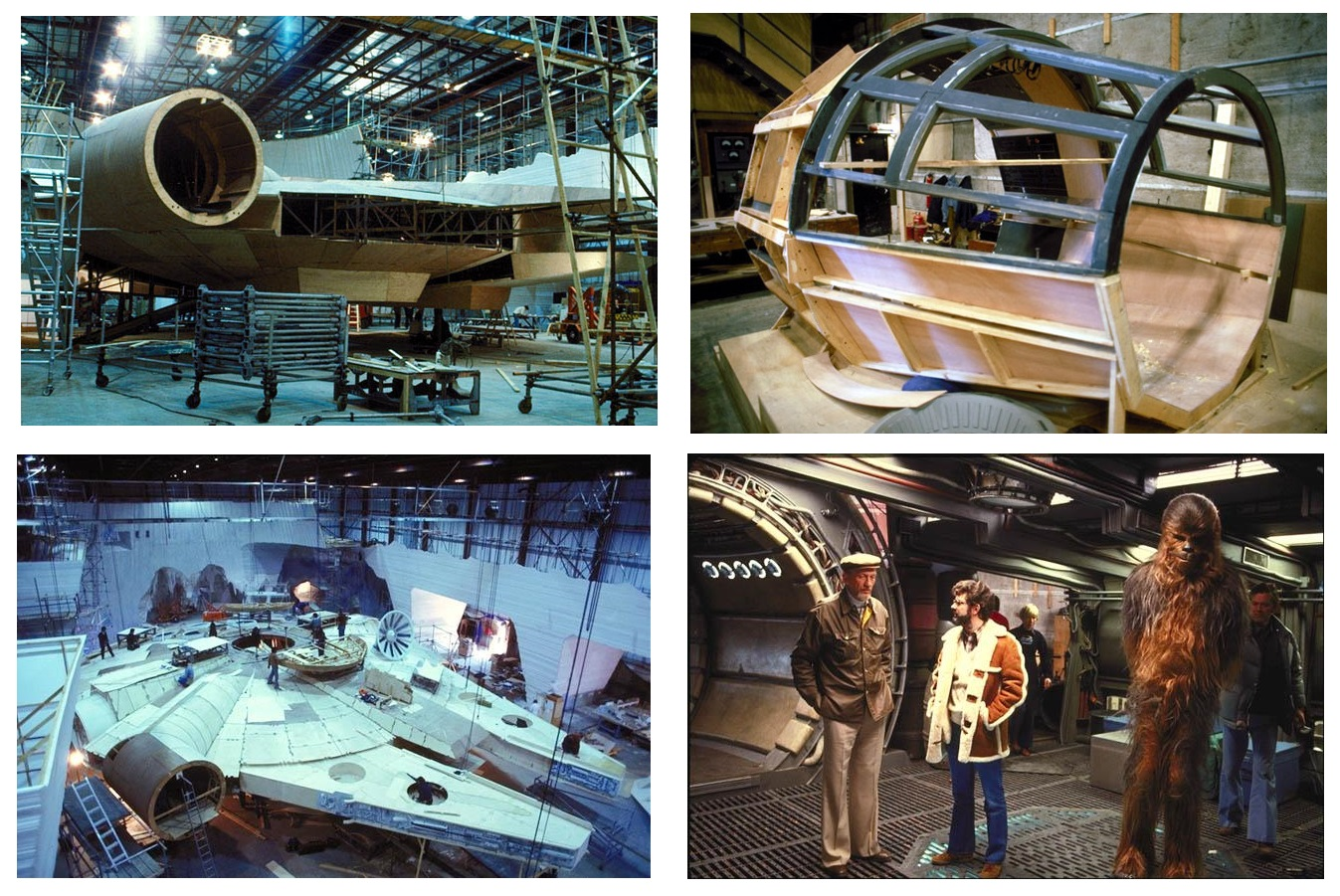 Millennium Falcon Models on Set