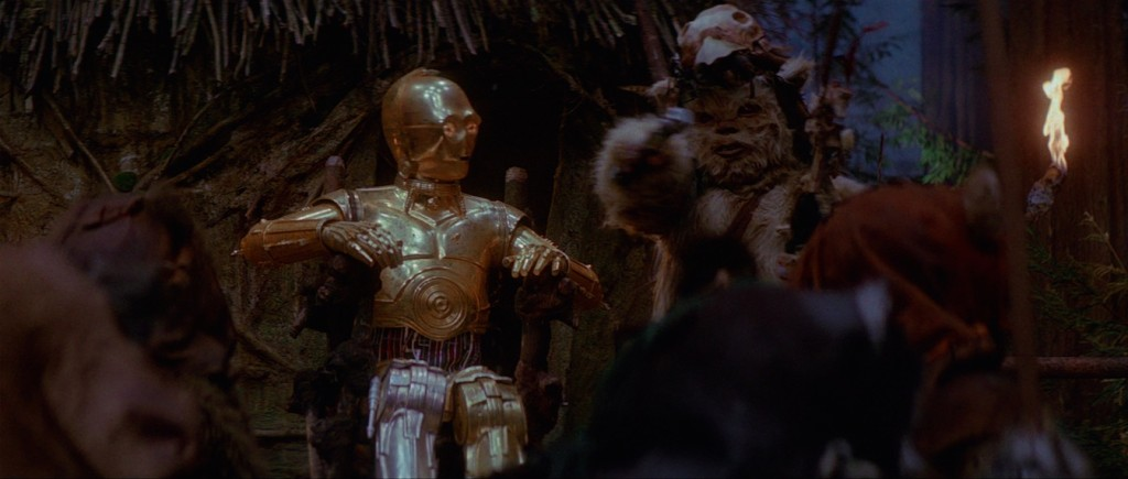 Return of the Jedi - C-3PO sitting on an Ewok throne