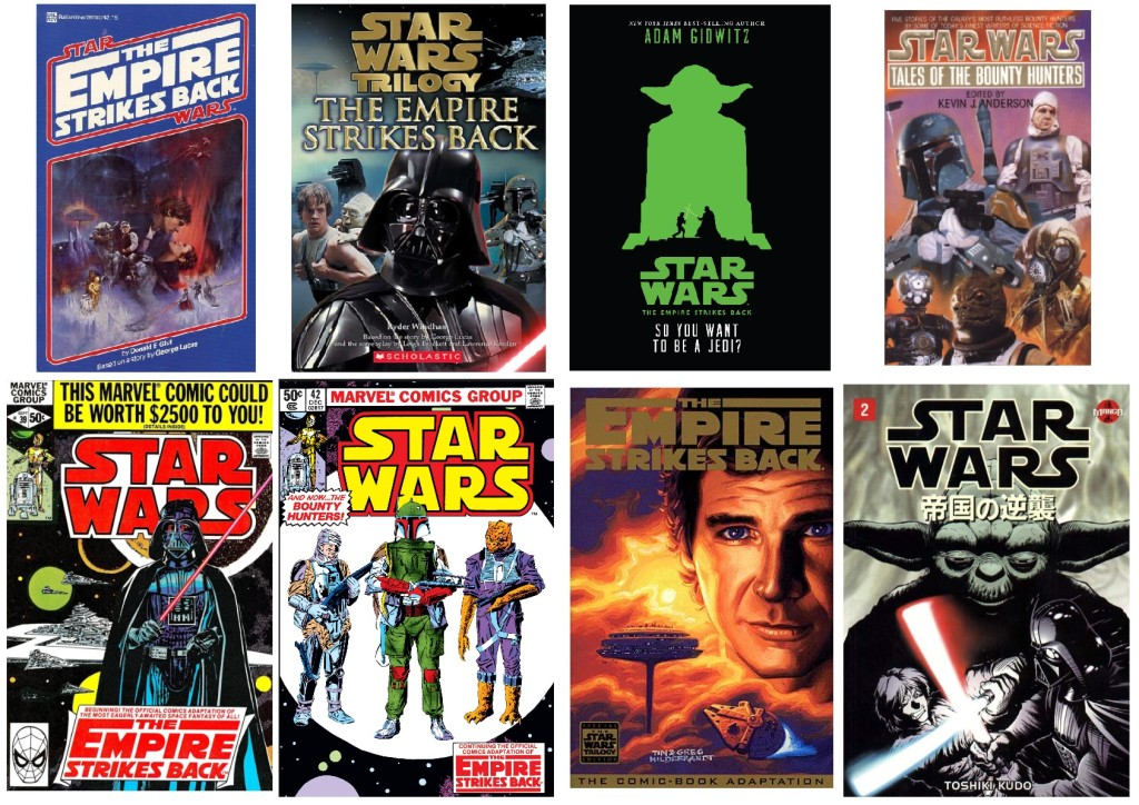 Covers of various The Empire Strikes Back adaptations
