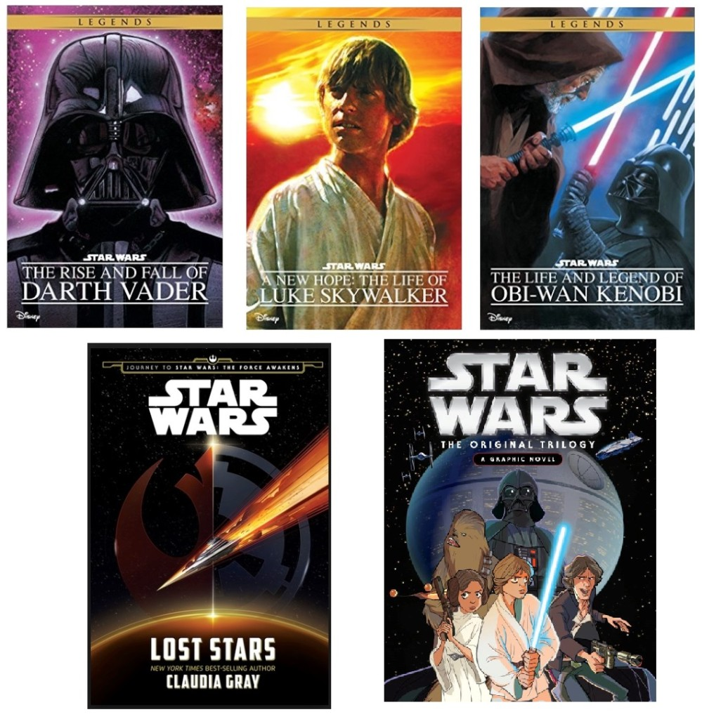Covers of various adaptations spanning the entire saga.