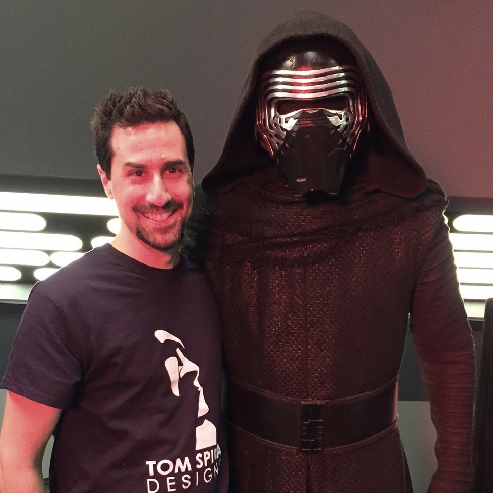 Tom Spina posing with a fully-costumed Adam Driver