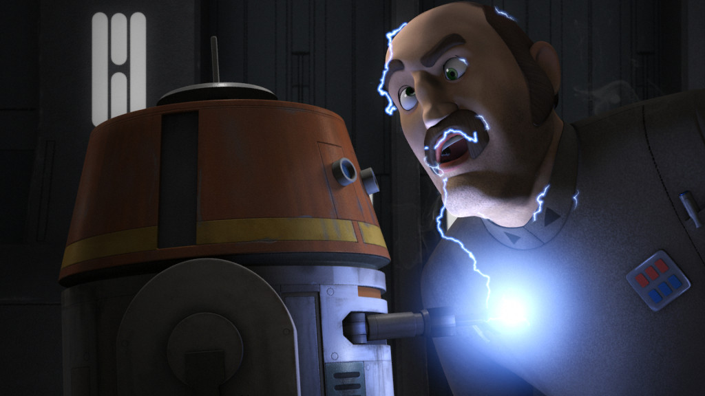 Star Wars Rebels - Chopper zapping Imperial captain