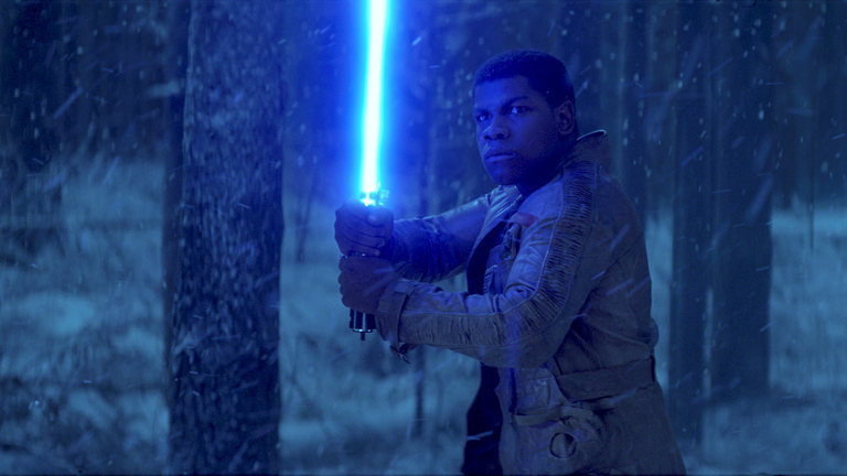 The Force Awakens - Finn with a lightsaber