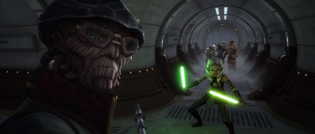 Ahsoka Tano defending Jedi younglings from Hondo Ohnaka aboard the Crucible