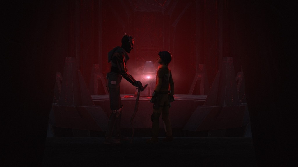 Star Wars Rebels - Maul and Ezra in front of the Sith holocron