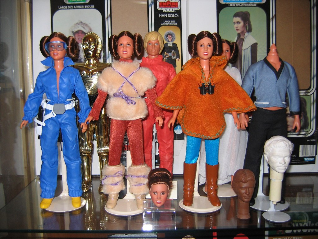 Kenner action figures of Leia Organa in various outfits