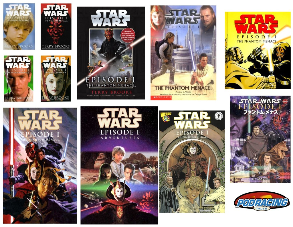 Covers of various The Phantom Menace adaptations
