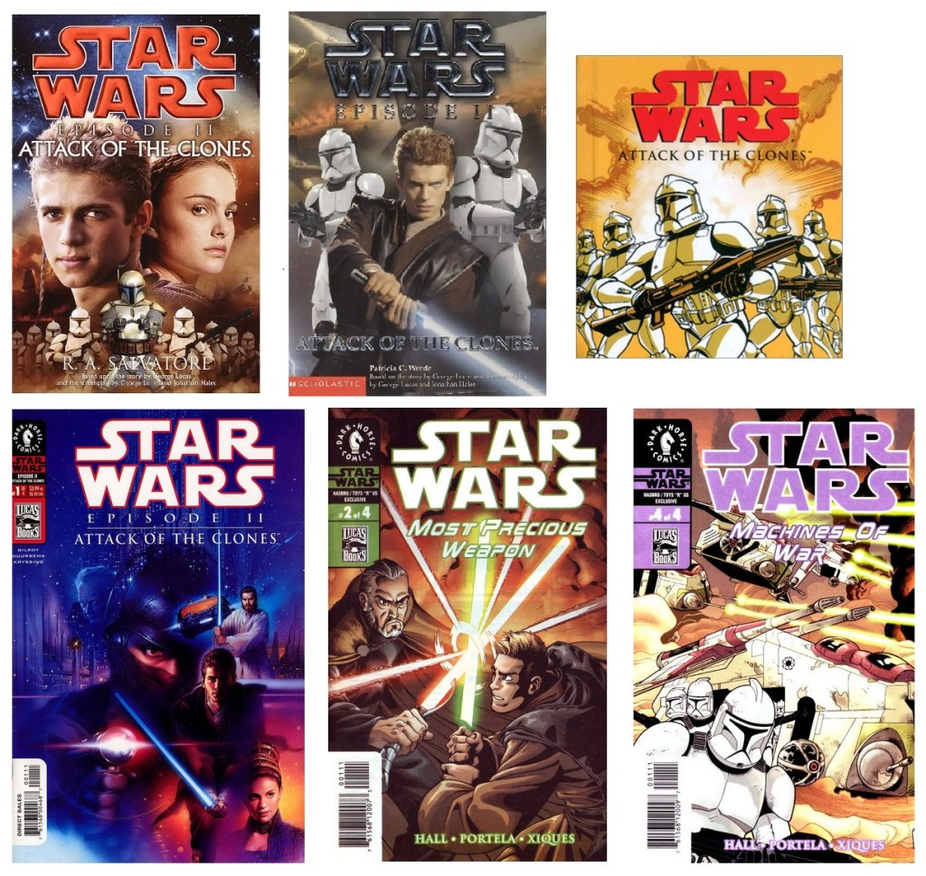 Covers of various Attack of the Clones adaptations