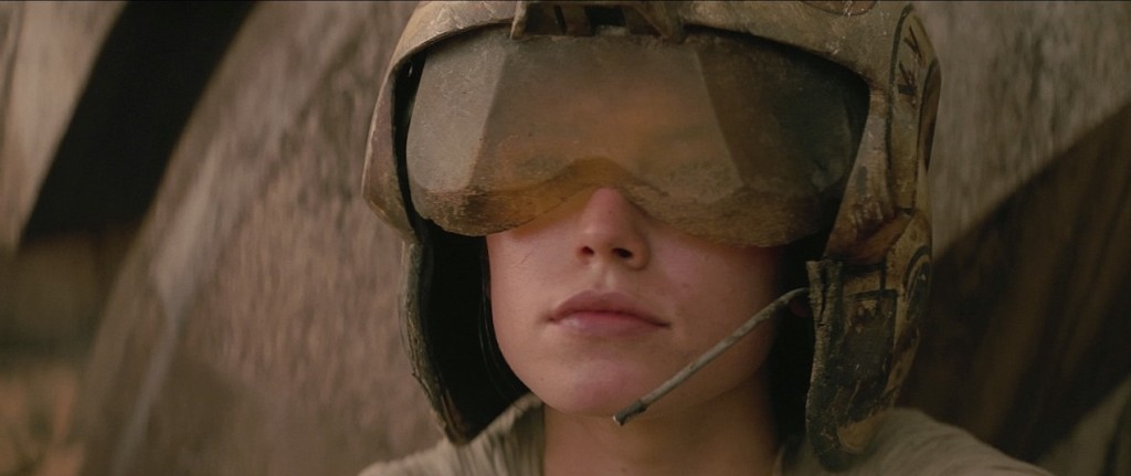 The Force Awakens - Rey with a Rebel pilot helmet on