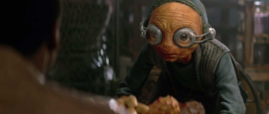 The Force Awakens - Maz looking at Finn