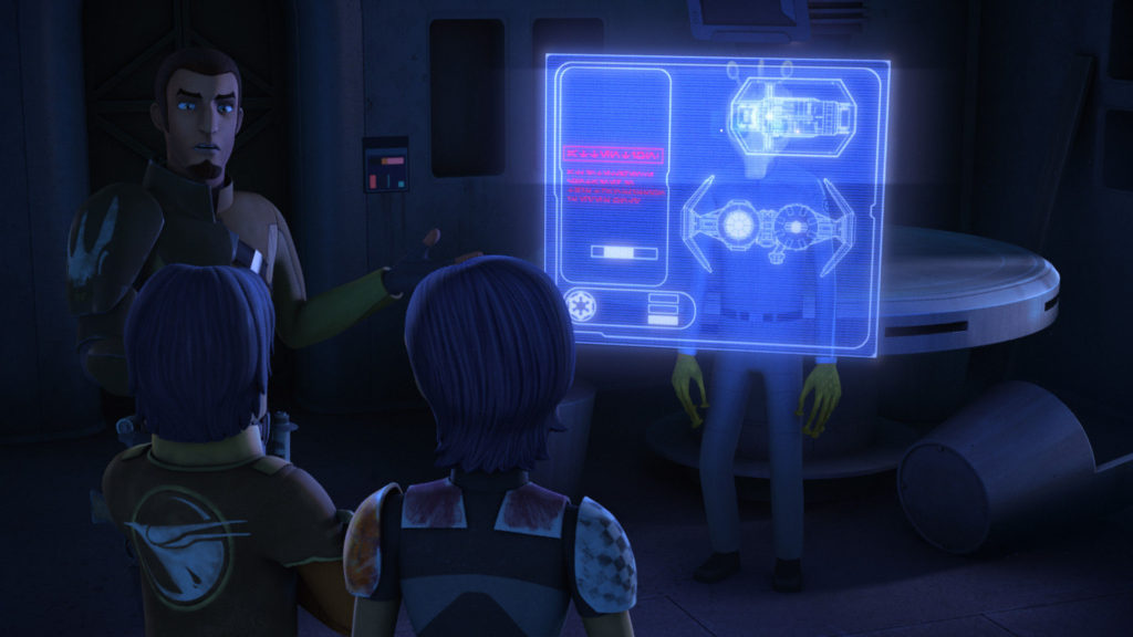 Star Wars Rebels - Sabine and the crew looking at TIE fighter plans