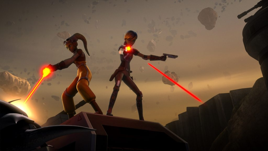 Star Wars Rebels - Sabine and Hera fighting off Fyrnocks