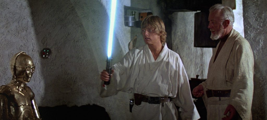 A New Hope - Luke turns on his father's lightsaber for the first time