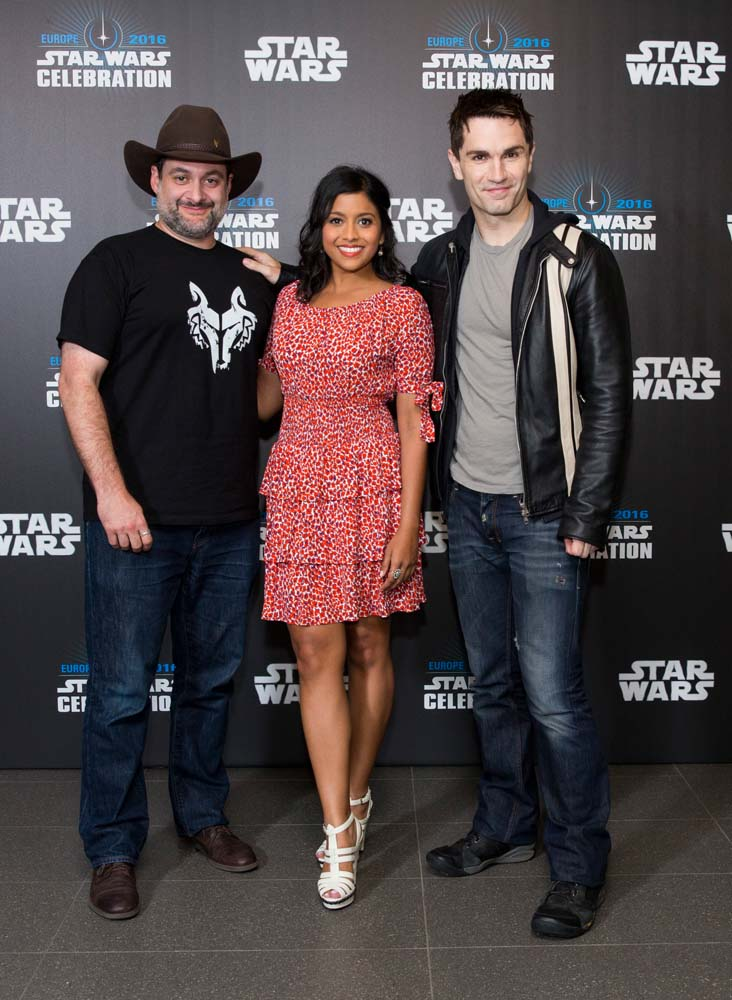 "Dave Filoni, Tiya Sircar and Sam Witwer from ""Star Wars Rebels"" attend Star Wars Celebration in London on Saturday, July 16 and Sunday, July 17."