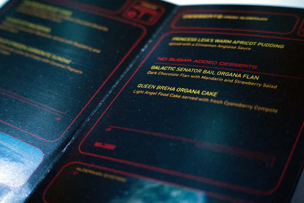 Star Wars Day at Sea dessert menu.