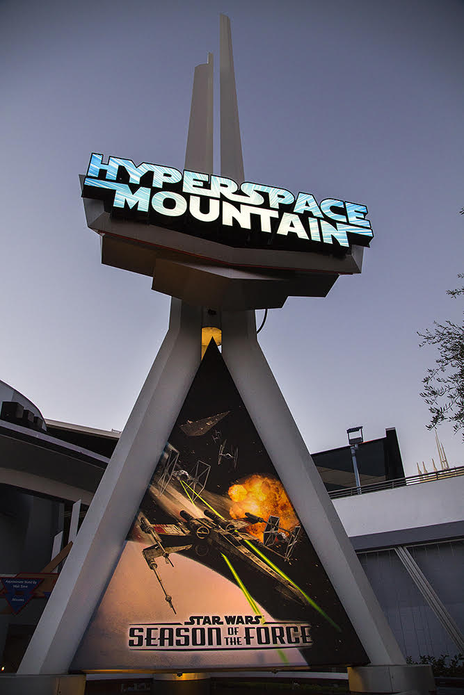 HYPERSPACE MOUNTAIN -- During Season of the Force, the classic Space Mountain attraction is reimagined as Hyperspace Mountain, thrusting Disneyland park guests into the darkness for an action-packed battle between Rebel X-wings and Imperial TIE fighters. A new soundtrack, inspired by the filmsÕ musical themes, adds to the thrills. (Paul Hiffmeyer/Disneyland Resort)