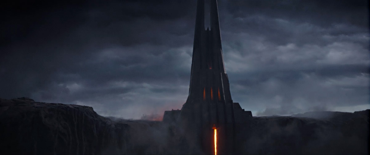 A landscape shot featuring Vader's Castle on Mustafar