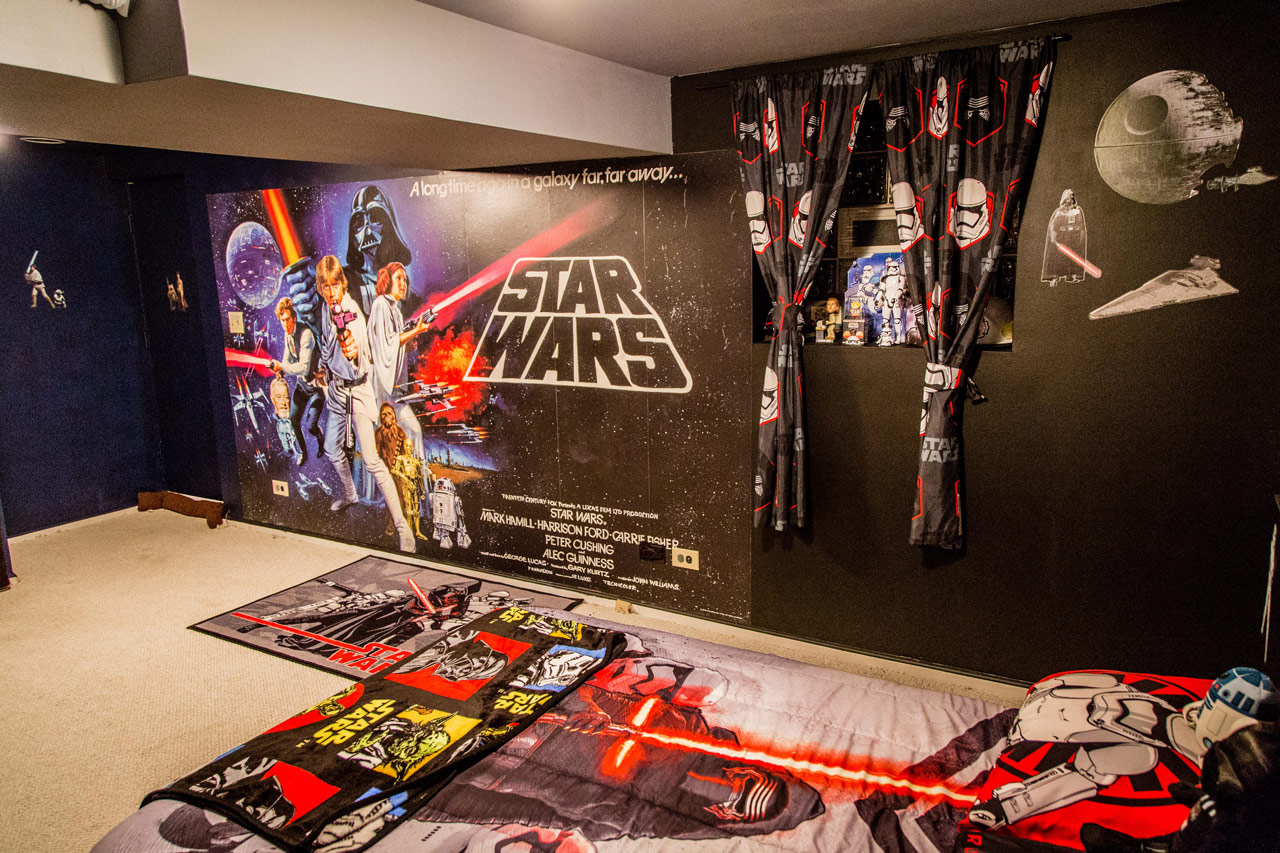 To Set The Tone For The Room, Erika And Dustin First Installed An Episode  IV Poster Wallpaper Mural They Purchased From Target. When They Were Ready  To Put ...