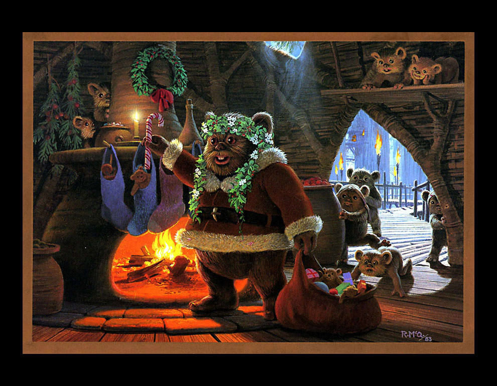 1982 lucasfilm this mcquarrie designed card from 1982 depicts yoda readying his sleigh complete with california vanity plate
